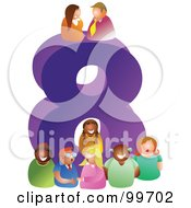 Royalty Free RF Clipart Illustration Of People Around A Large Number 8