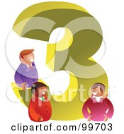 Royalty Free RF Clipart Illustration Of People Around A Large Number 3