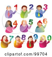 Royalty Free RF Clipart Illustration Of A Digital Collage Of People Holding Up Numbers