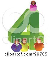 Royalty Free RF Clipart Illustration Of People Around A Large Number 4