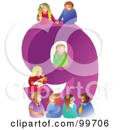 Royalty Free RF Clipart Illustration Of People Around A Large Number 9