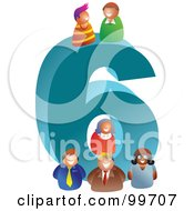 Royalty Free RF Clipart Illustration Of People Around A Large Number 6