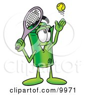 Clipart Picture Of A Rolled Money Mascot Cartoon Character Preparing To Hit A Tennis Ball