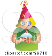 Royalty Free RF Clipart Illustration Of A Party Woman Holding A Cupcake by Prawny