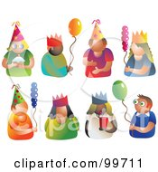 Royalty Free RF Clipart Illustration Of A Digital Collage Of Party Men And Women by Prawny