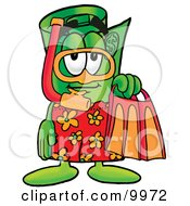 Clipart Picture Of A Rolled Money Mascot Cartoon Character In Orange And Red Snorkel Gear