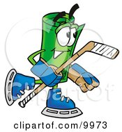 Clipart Picture Of A Rolled Money Mascot Cartoon Character Playing Ice Hockey by Toons4Biz