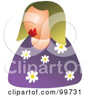 Royalty Free RF Clipart Illustration Of A Woman In A Floral Shirt Avatar by Prawny