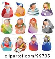 Digital Collage Of 12 People Avatars