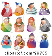 Royalty Free RF Clipart Illustration Of A Digital Collage Of 12 People Avatars by Prawny