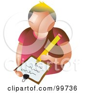 Royalty Free RF Clipart Illustration Of A Writing Man Avatar by Prawny