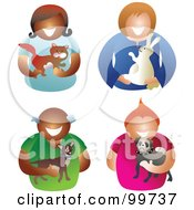 Royalty Free RF Clipart Illustration Of A Digital Collage Of Men And Women Holding Their Pets