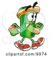 Clipart Picture Of A Rolled Money Mascot Cartoon Character Speed Walking Or Jogging by Toons4Biz