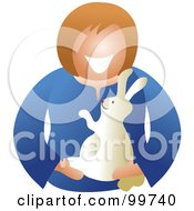 Royalty Free RF Clipart Illustration Of A Happy Woman Holding Her Pet Rabbit by Prawny