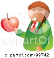 Happy School Girl Holding An Apple
