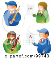 Digital Collage Of School Boys And Girls Holding Pencils And Report Cards