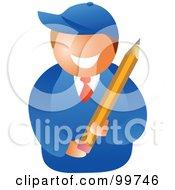 Happy School Boy Holding A Pencil