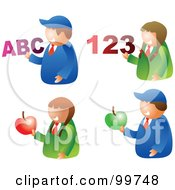 Digital Collage Of School Boys And Girls Holding Apples Letters And Numbers