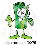 Clipart Picture Of A Rolled Money Mascot Cartoon Character Looking Through A Magnifying Glass by Toons4Biz