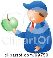 Happy School Boy Holding An Apple
