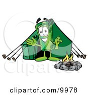 Clipart Picture Of A Rolled Money Mascot Cartoon Character Camping With A Tent And Fire by Toons4Biz
