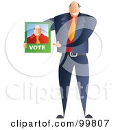 Royalty Free RF Clipart Illustration Of A Male Politician Holding A Voting Brochure