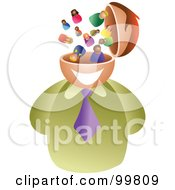 Royalty Free RF Clipart Illustration Of A Businessman With A People Brain