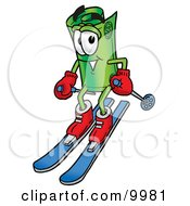 Clipart Picture Of A Rolled Money Mascot Cartoon Character Skiing Downhill by Toons4Biz