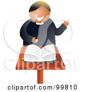 Royalty Free RF Clipart Illustration Of A Friendly Preacher Standing Before The Bible