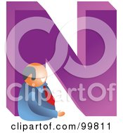 Royalty Free RF Clipart Illustration Of A Businessman With A Large Letter N