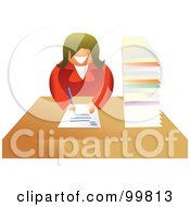 Royalty Free RF Clipart Illustration Of A Businesswoman Filling Out Paperwork by Prawny