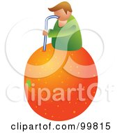 Man On Top Of A Giant Orange And Drinking The Juice With A Straw