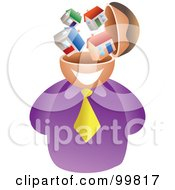 Royalty Free RF Clipart Illustration Of A Businessman With A House Brain