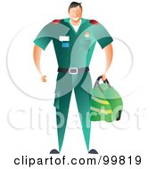 Royalty Free RF Clipart Illustration Of A Male Paramedic In A Green Uniform by Prawny