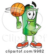 Clipart Picture Of A Rolled Money Mascot Cartoon Character Spinning A Basketball On His Finger by Toons4Biz