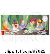 Royalty Free RF Clipart Illustration Of A Group Of Party People With Snacks And Balloons by Prawny