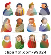 Royalty Free RF Clipart Illustration Of A Digital Collage Of People Avatars by Prawny