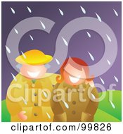 Royalty Free RF Clipart Illustration Of A Happy Couple Standing In The Rain by Prawny