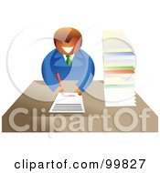 Royalty Free RF Clipart Illustration Of A Business Man Filling Out Paperwork by Prawny