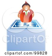 Royalty Free RF Clipart Illustration Of A Business Man On Top Of A Stack Of Euro Banknotes by Prawny