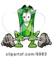 Clipart Picture Of A Rolled Money Mascot Cartoon Character Lifting A Heavy Barbell