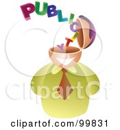 Royalty Free RF Clipart Illustration Of A Businessman With A Publicity Brain by Prawny