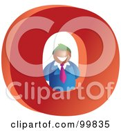 Royalty Free RF Clipart Illustration Of A Businessman With A Large Letter O