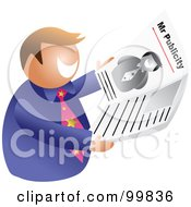 Royalty Free RF Clipart Illustration Of A Man Mr Publicity Holding A Newspaper by Prawny