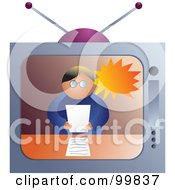 Royalty Free RF Clipart Illustration Of A News Reporter On A Television