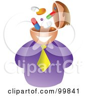 Royalty Free RF Clipart Illustration Of A Businessman With A Pill Brain by Prawny