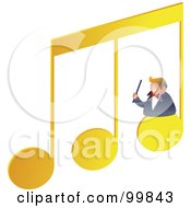Royalty Free RF Clipart Illustration Of A Musician On Music Notes by Prawny