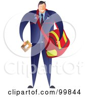 Royalty Free RF Clipart Illustration Of A Male Postman Carrying A Mail Bag by Prawny