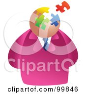 Royalty Free RF Clipart Illustration Of A Businessman With A Puzzle Face by Prawny