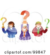 Royalty Free RF Clipart Illustration Of A Business Team Holding Question Marks